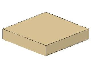 Lego Fliese 2 x 2, mit Nut, tan