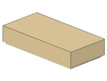 Lego Fliese 1 x 2, mit Nut, tan